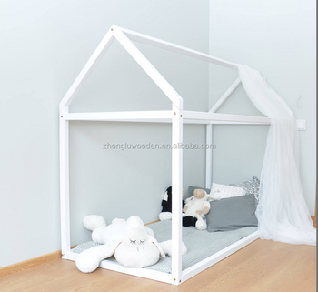 Toddler Bed 60x120cm Wood House Frame Montessori Baby Kids Tent White Bedrib Size