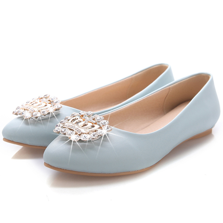 Get Quotations · fashion pink blue white flat bridal shoes ladies white  flat wedding shoes casual soft leather summer 19eb27b5a336