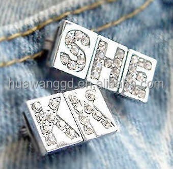 8mm rhinestone cube alphabet slide letter beads in sqaure for bracelet,necklace,keyring