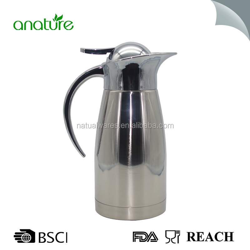 Stainless Steel Double-wall Vacuum Coffee Pot with Press Button Top Insulated Cafetiere/Coffee Plunger 1.5L/Water Pitcher