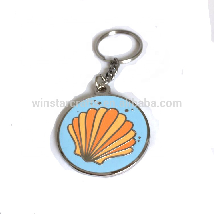 2018 Newest Creative Gifts low MOQ Custom metal Blue background lovely shell keychain