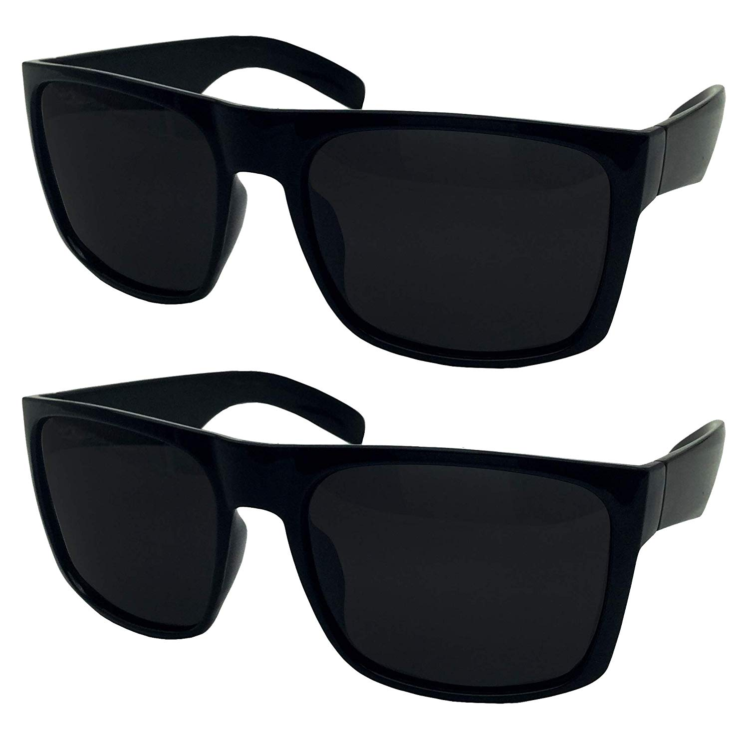 4c65b92354a Get Quotations · 2 Pack XL Polarized Men s Big Wide Frame Sunglasses - Large  Head Fit