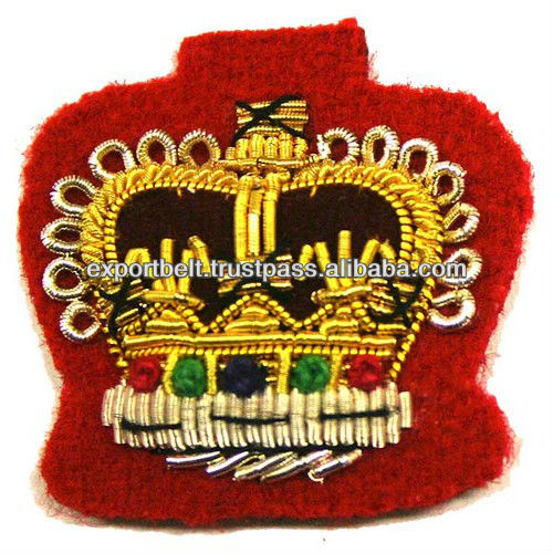 british army hand embroidery gold bullion crown badge | Custom Embroidery Badge on Sale, king crown queens crown badge