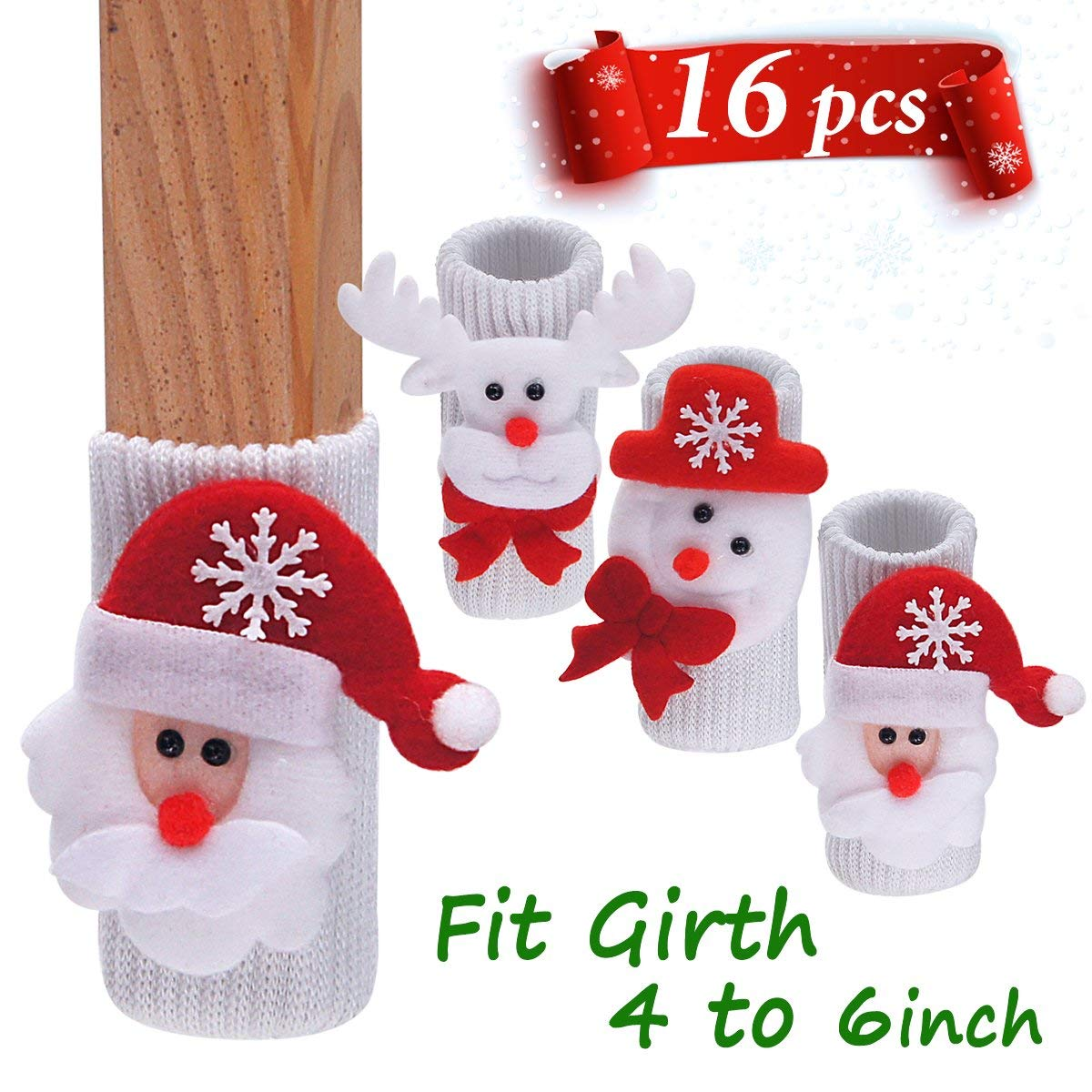 """LimBridge 16pcs Christmas Chair Socks, Elastic Chair Leg Feet Floor Protectors Covers Set, Fit Girth from 4"""" to 6"""", Vertical Knitted White Red"""