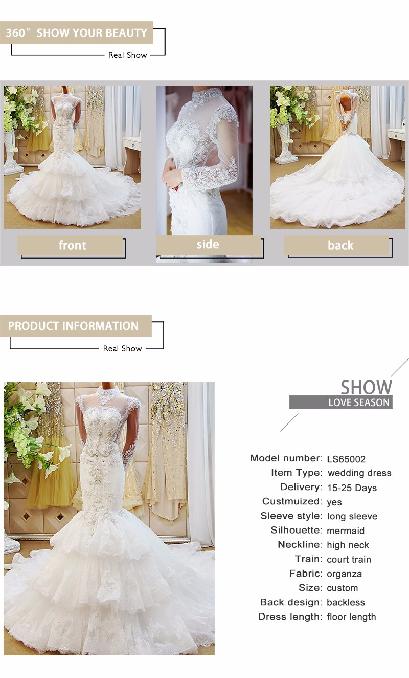Ls65002 Real Luxury Sequins Beads Diamonds Lace Wedding Dresses With ...