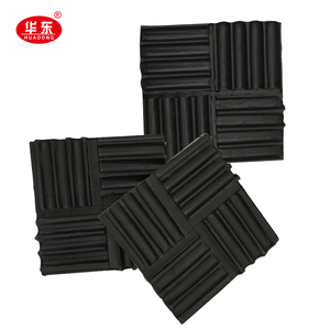 Weather Resistant Shock Absorber High Elastic Thin Black Ribbed Rubber Mats