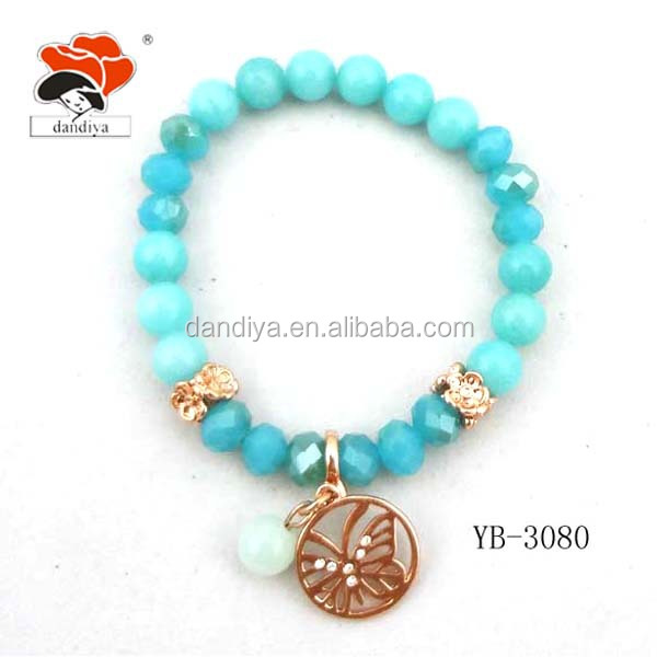 fashion spiritual blue natural stone and crystal charm bead bracelet with butterfly