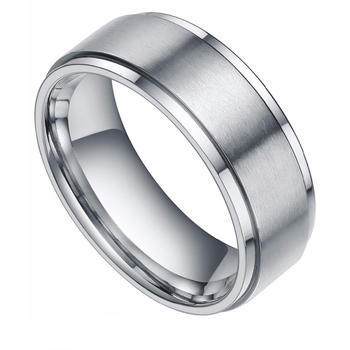 cfc702e7df71b 8mm Silver Tungsten Carbide Ring Edges Brushed Wedding Band Male Engagement  Rings For Women Tungsten Ring - Buy Ring Tungsten,Men Wedding Ring,Silver  ...