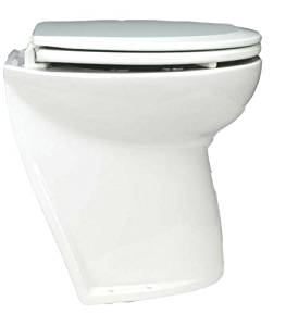 Jabsco Deluxe Flush Marine Head, 17 inch Electric Marine Toilet, Fresh or Raw Water Rinse