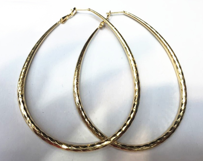 Earring, Tear Drop Shape Hammered Hoop earring, Stunning Cheap Wire Ear Loop Jewelry