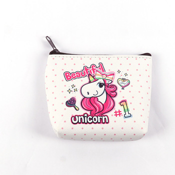 custom cut colorful unicorn  pattern PU coin purse with zipper