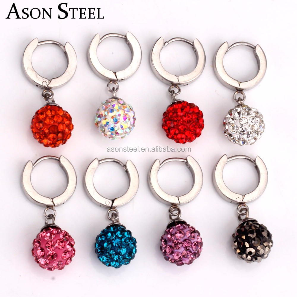 High Quality Stainless Steel Shamballa Hoop Earring For Women White Zircon Fashion Jewelry