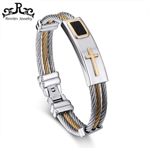 RITB248 Delicate Bangle Men Stainless Steel Bracelet Cross Gold Plated Better Quality for Jewelers