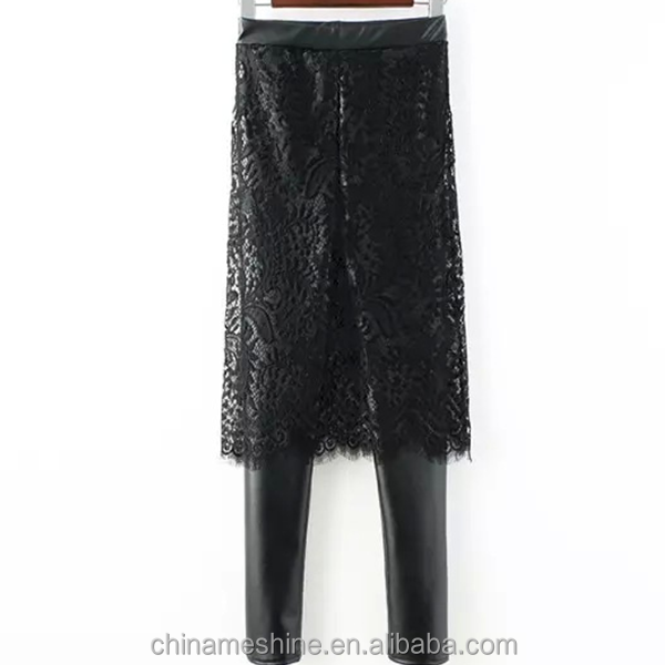 MS71769L Fashion design ladies leather leggings with skirt