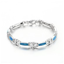 Latest Fashion Bracelet 2015 Connect Blue Opal Bangle Silver Jewelry