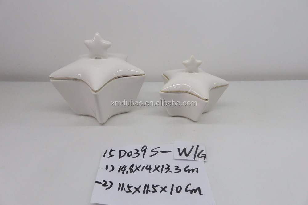 star shaped porcelain butter dish with lid