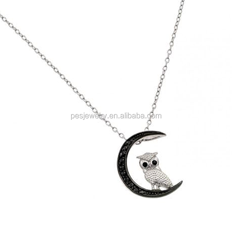 Moon Night Owl Sterling Silver Necklace Chain 925 Animal Pendant Black CZ Gem