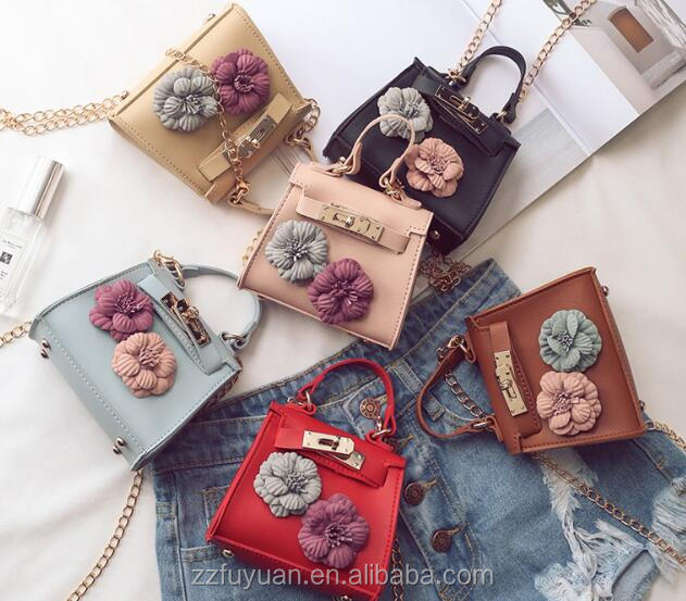 multifuctional lady and kids pu flower shoulder bag, cute lovely decorative mini bag