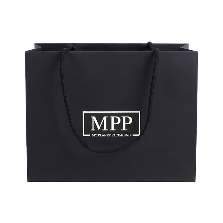 Cheap Custom Recycled Folding Luxury Gift Advertising Black Paper Shopping Bag with Logo Printing
