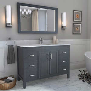 Classic marble top double sinks bathroom vanity cabinets display cabinet with glass doors
