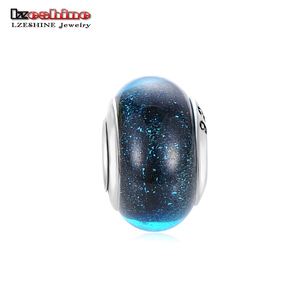 Fashion Blue Starry Luminous 925 Silver Plated DIY Thread Murano Glass Beads Charms Bracelets For Women Jewelry