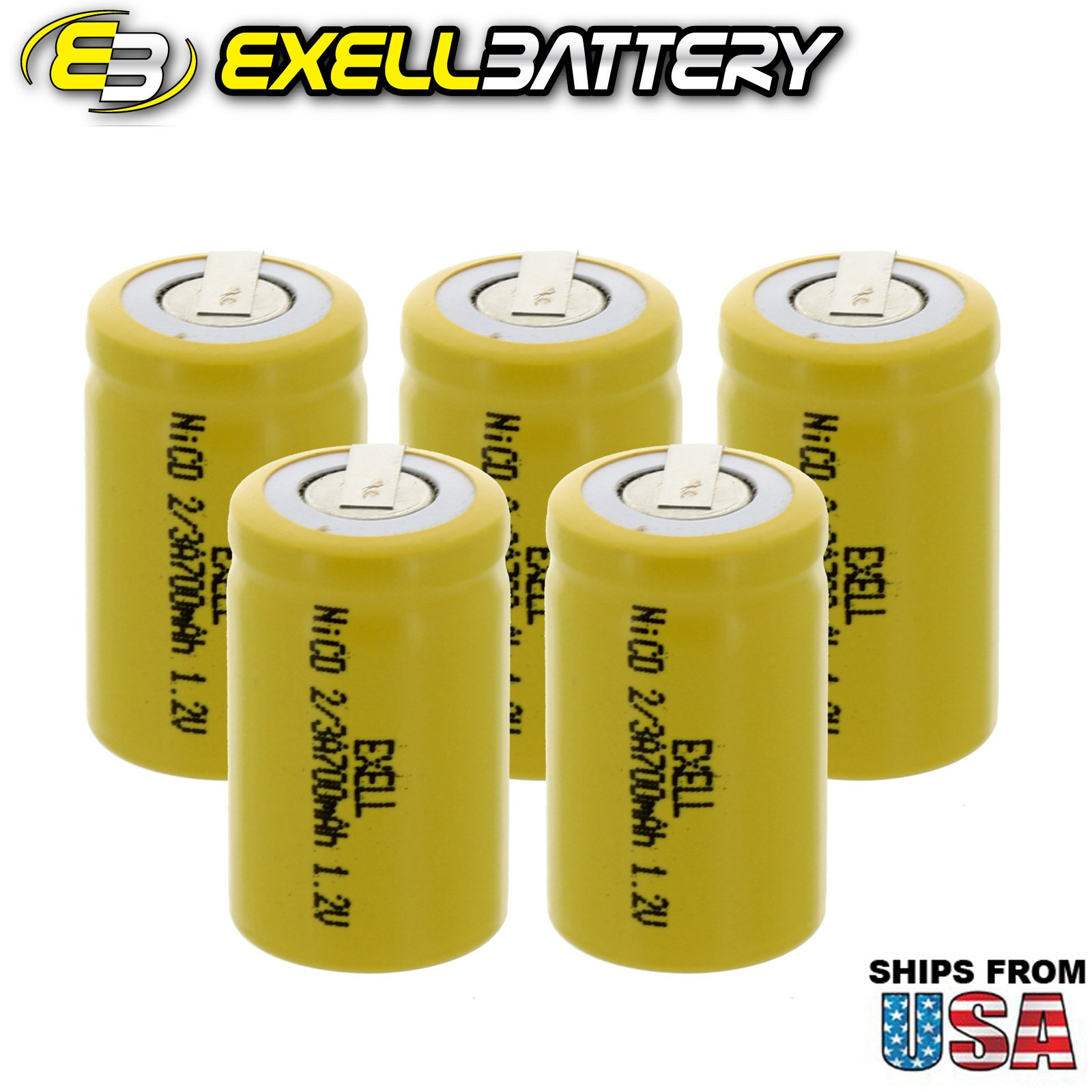 5x Exell 2/3A Size 1.2V 700mAh NiCD Rechargeable Batteries with Tabs for medical instruments/equipment, electric razors, toothbrushes, radio controlled devices, electric tools