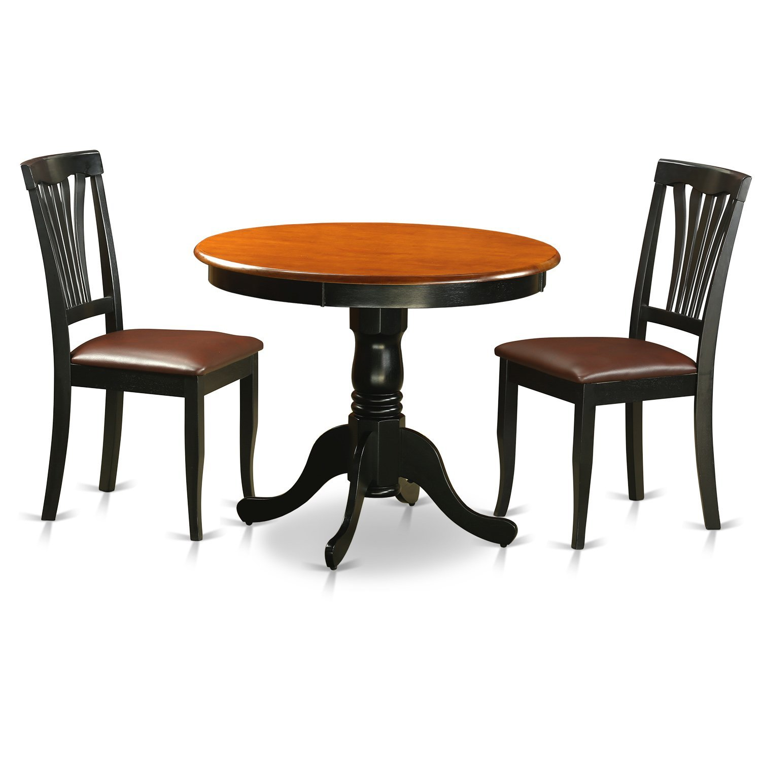 East West Furniture ANAV3-BLK-LC Antique 3 Piece Kitchen Set Finished In Black & Cherry