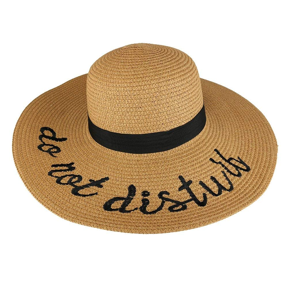368aa4e6 Get Quotations · Trendy Apparel Shop Do Not Disturb Embroidered Ladies Large  Brim Summer Floppy Straw Hat