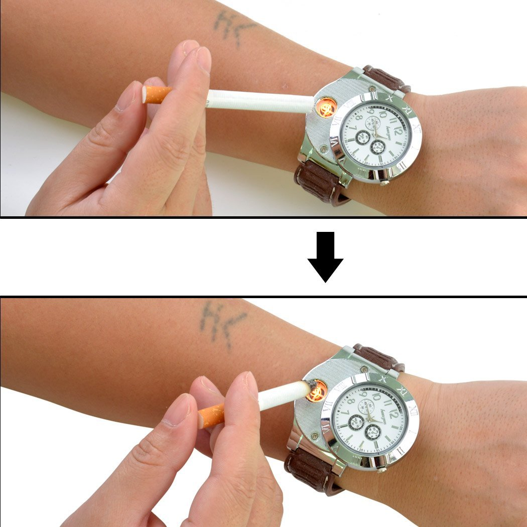 inkint Unisex Sports Watch with Rechargeable Lighter for Cigarette Cigar Windproof Watch Lighter Multifunction Electric Rechargeable Lighter Can Be Used as Wrist Watch