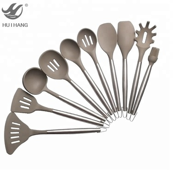 Premium 10 piece kitchen accessories silicone cooking tools stainless steel kitchen utensil set