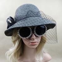 Ladies Design Party/Church Veiling Wool Felt Hat