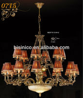 Fabric and copper carved candle pendant lamp, royal chandelier pendant lamp lightings, classical hotel lightings