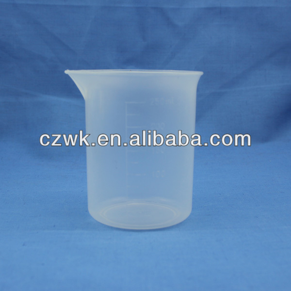 250ml plastic measuring beaker in different size, pp labware beaker