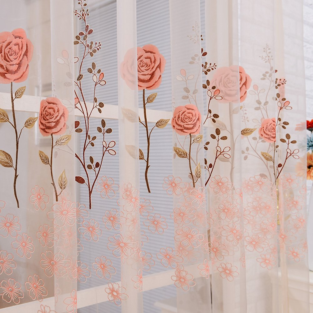 Get Quotations · Daxin Rose Printed Beads Tassel Valance Voile Window Door  Balcony Curtain Sheer Scarf