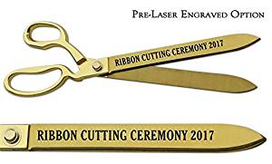"Pre-Laser Engraved ""RIBBON CUTTING CEREMONY 2018"" 15"" Gold Plated Ceremonial Ribbon Cutting Scissors"
