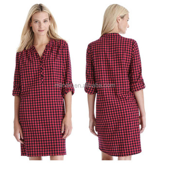 4c9aff6349 Plaid nightie 100% Cotton Sleep Shirt Women s Plus Size Button Front  Boyfriend Style Plaid Flannel