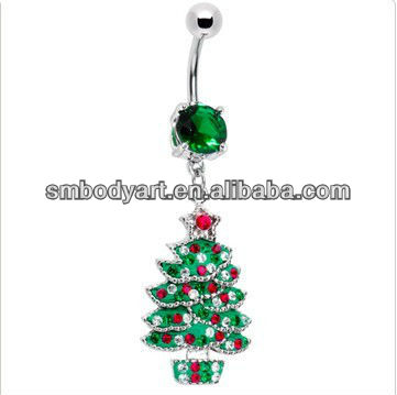 Christmas Emerald Green Gem Holiday Christmas Tree Belly Ring in body piercing jewelry