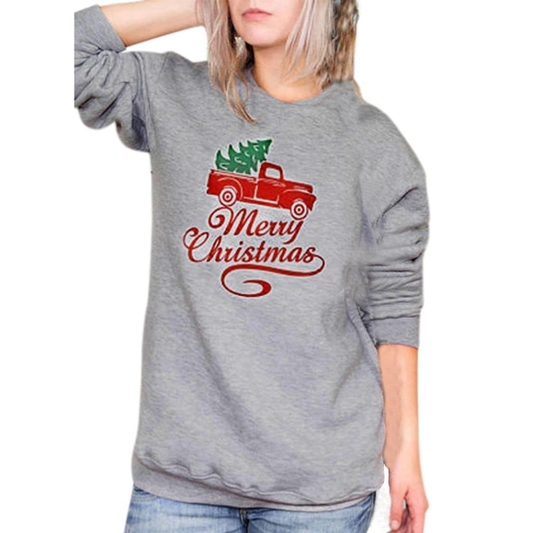 Junshion Christmas Fashion Womens Letter Car Printed Sweatshirt Long Sleeve Tops