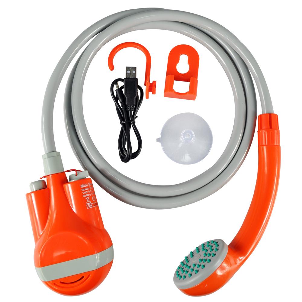 naranja Juego de ducha port/átil de 3,7 V con bomba de agua USB para camping y senderismo