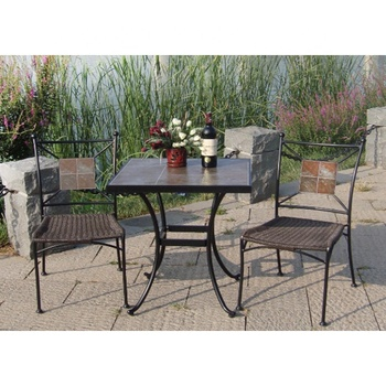 Patio Garden Yard Use 66cm Square Table With Ceramic Tile Top And 2 Side Chair Mosaic Style Furniture Slate Leisure Rattan