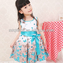 2012 new fashion Pure cotton butterfly printing sleeveless vest skirt for children girl's flower princess dress