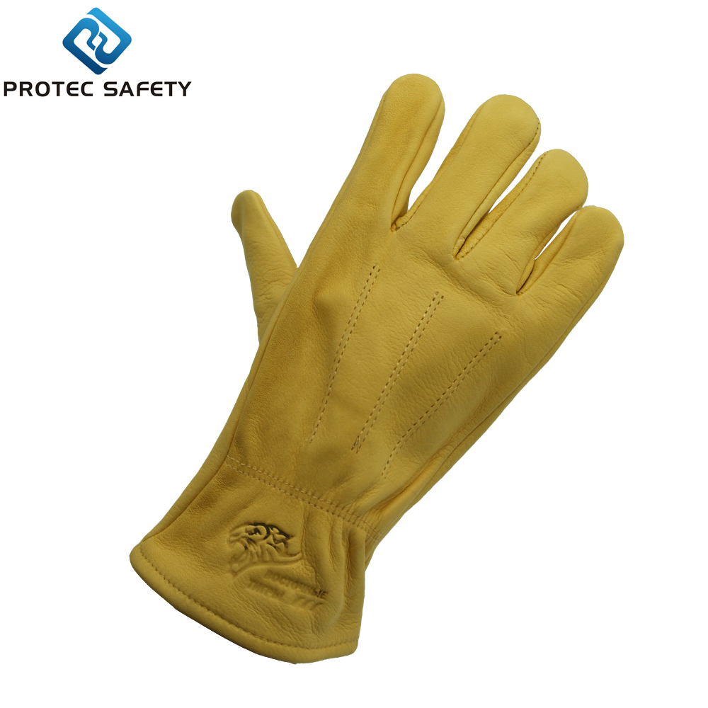 Premium golden cow grain driver's horse riding leather saftey gloves