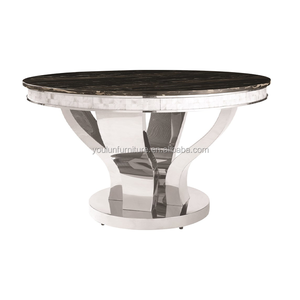 Round Antique Solid Surface Composite Marble Top And Metal Leg Dining Table