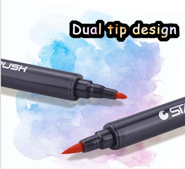 Dual tip marker 72Colors Double Head Artist Soluble Colors Sketch Marker Brush Pen Set For School Drawing
