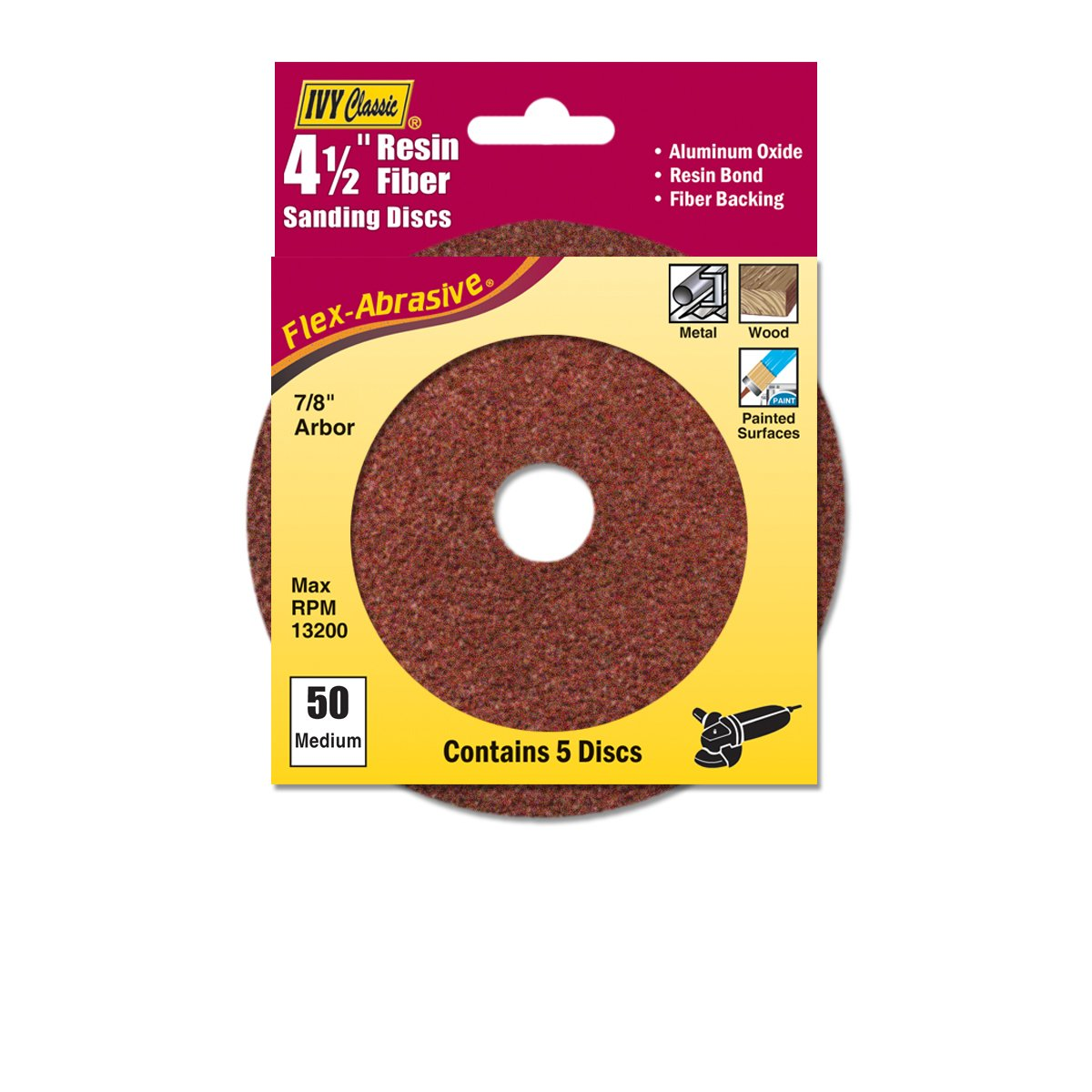 IVY Classic 42308 Flex-Abrasive 4-1/2-Inch x 7/8-Inch 50 Grit Medium Resin Fiber Disc, 5/Card
