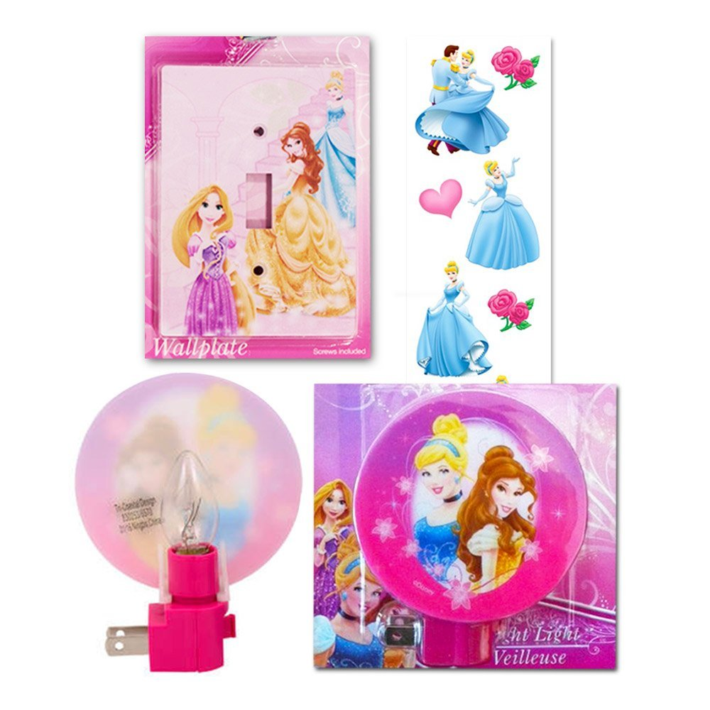 Disney Princess Night Light and Switch Plate Cover Bedroom Decor Set with Disney Princess Stickers