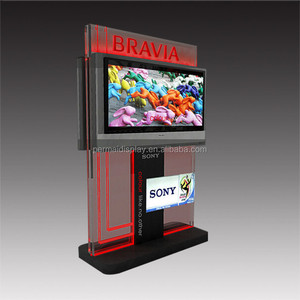 Advertising television display props wood floor standing LCD tv display rack