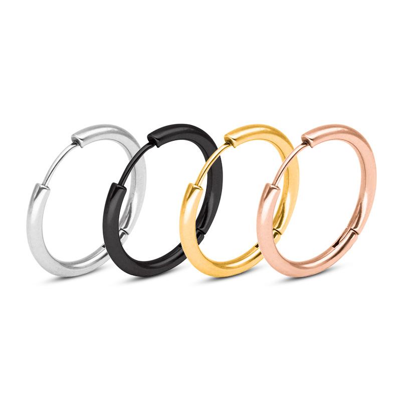 ステンレス鋼シンプルゴールドメッキラウンドサークルフープイヤリング女性用ビジュージュジュエリー卸売
