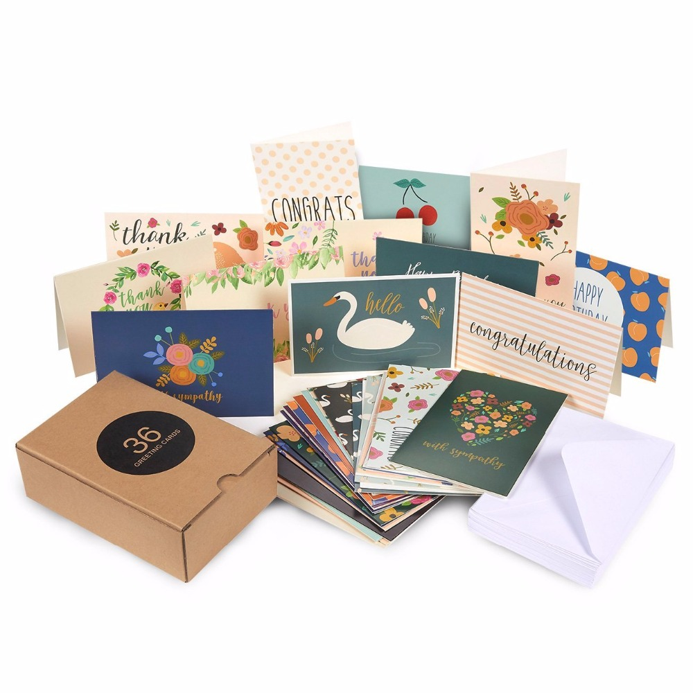 All Occasion Greeting Cards - Includes Assorted Happy Birthday Card Congratulations Hello Thank You For Shopping With Us Cards
