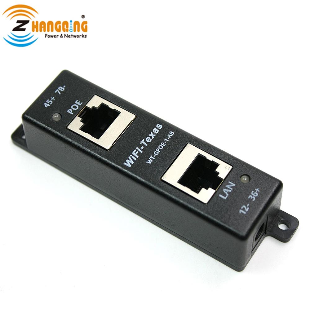 Inyector Gigabit PoE de 4 Puertos para Dispositivos 802.3af o pasivos 802.3at WiFi-Texas WT-GPOE-4 Inyector PoE Gigabit Fuente de alimentaci/ón sin incluida